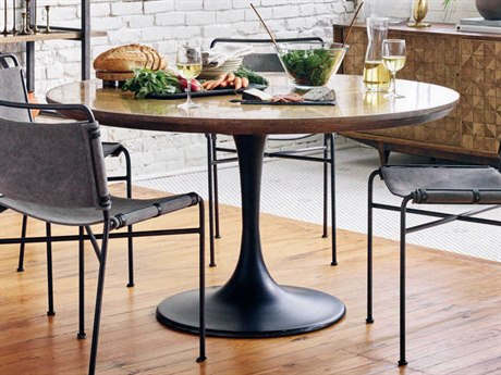 Four Hands Hughes Dark Rustic Black / Light Burnt Oak Bright Brass Clad 55'' Wide Round Dining Table