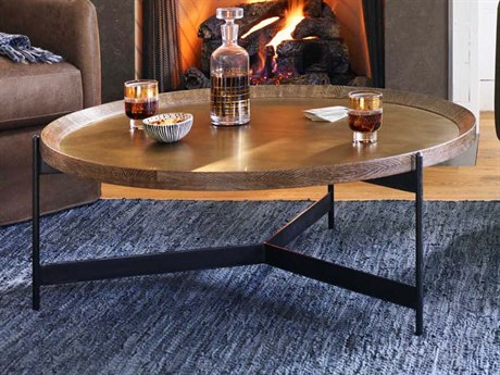 Four Hands Hughes Powder Black / Bright Brass Clad Light Burnt Oak 40'' Wide Round Coffee Table FSCIMP173