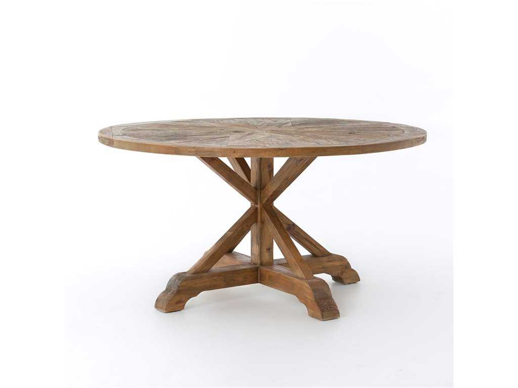 Four hands hughes 59 round bleached pin opio dining table for Dining table tj hughes