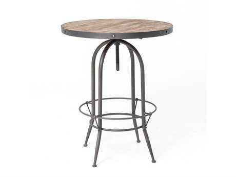 Four Hands Hughes 32 Round Bleached Pine Bristol Pub Pedestal Table