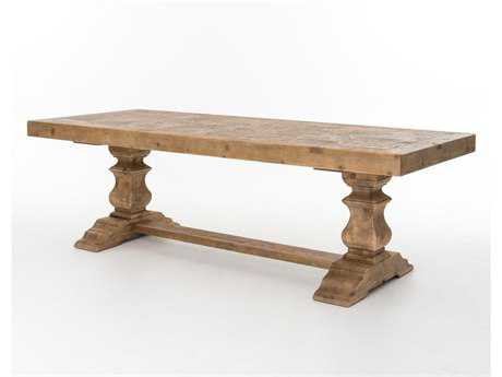 Four Hands Hughes 98 x 39 Rectangular Bleached Pine Castle Dining Table