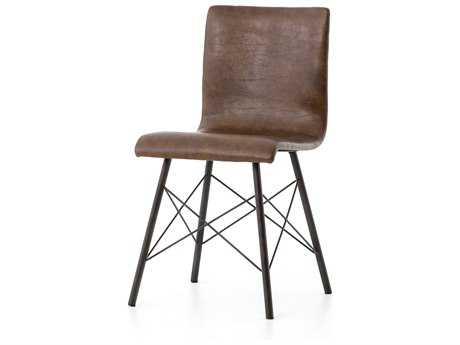 Four Hands Irondale Distressed Brown Diaw Side Dining Chair