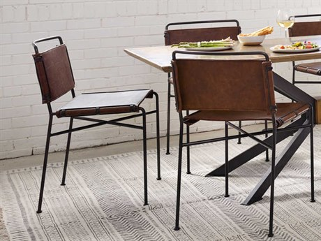 Four Hands Irondale Distressed Brown / Waxed Black Side Dining Chair