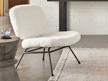 Four Hands Irondale Ivory Angora / Waxed Black Accent Chair
