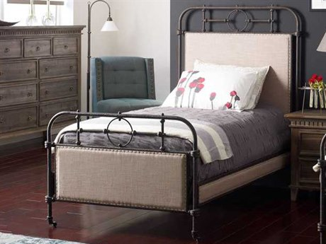 Four Hands Irondale Palm Ecru/Aged Iron Berkley Metal Twin Panel Bed