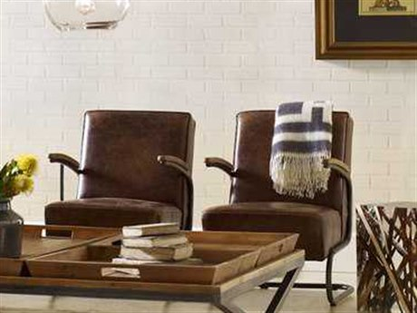 Four Hands Irondale Havana/Burlap/Waxed Black Miles Club Chair