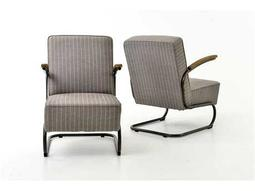 Four Hands Irondale Gray Stripe Twill/Waxed Black Miles Club Chair