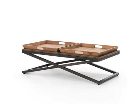 Four Hands Irondale 47 x 23 Rectangular Antique Bleach Sealed/Waxed Black Jax Coffee Table
