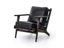 Four Hands Irondale Ebony, Black Washed Weathered Brooks Lounge Arm Chair