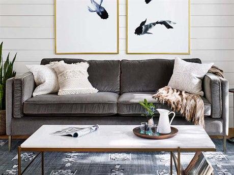 Four Hands Kensington Sapphire Birch / Antique Brass Sofa Couch FSCKEN157202