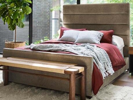 Four Hands Kensington Sage Worn Velvet / Almond Queen Panel Bed