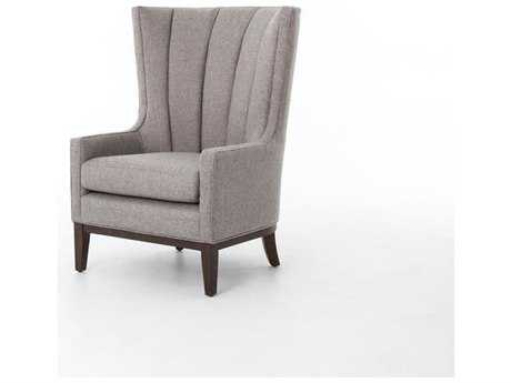 Four Hands Kensington Chess Pewter Channelled Wing Chair