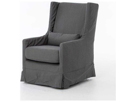 Four Hands Kensington Finn Charcoal Swivel Wing Chair