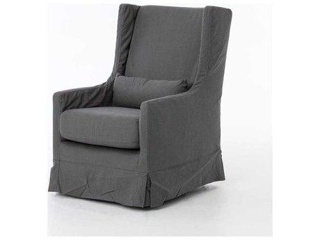 Four Hands Kensington Finn Charcoal Swivel Wing Chair