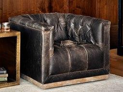 Four Hands Kensington Maxx Destroyed Black Swivel Club Chair