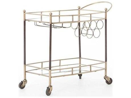 Four Hands Asher Antique Brass Coles Bar Cart
