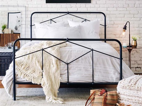 Four Hands Primitive Sandblasted Vintage Black / Dark Natural Queen Panel Bed FSICAPQ7