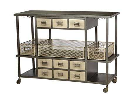 Four Hands Element 52 x 18 Black/Antique Nickel Industrial Bar Cart
