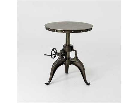 Four Hands Element 22 Round Antique Nickel Crank End Pedestal Table