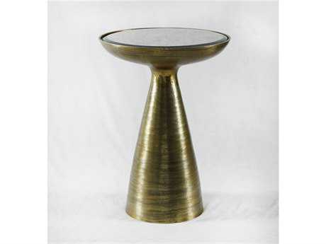 Four Hands Marlow 16 Round Brushed Brass Mod Pedestal Table
