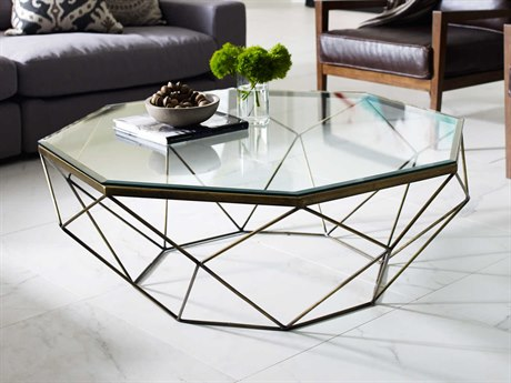 Four Hands Marlow Geometric Antique Brass Coffee Table