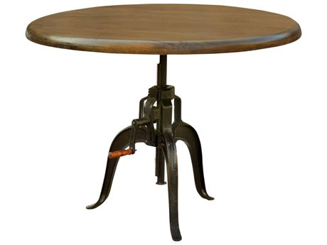 Four Hands Rockwell 48 Round Black & Natural Antique Adjustable Dining Table