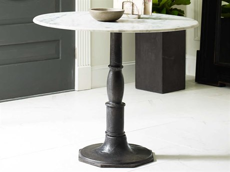 Four Hands Rockwell 36 Round Carbon Wash Lucy Bistro Pedestal Table