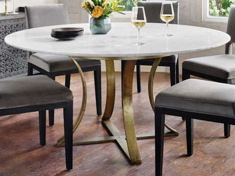 Four Hands Rockwell Cast Brass / Polished White Marble 60'' Wide Round Dining Table FSIRCK144