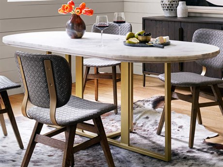 Four Hands Rockwell Devon White Marble / Brass Patina 74'' Wide Dining Table