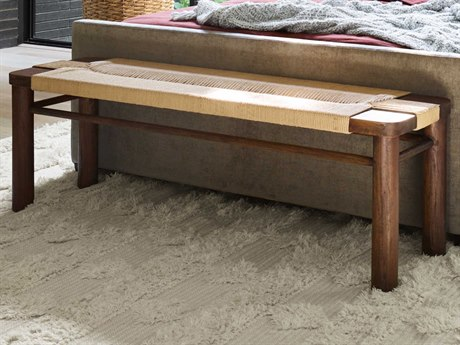 Four Hands Grass Roots Russet Mahogany / Vintage Cotton Accent Bench