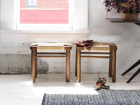 Four Hands Grass Roots Russet Mahogany / Vintage Cotton Accent Stool