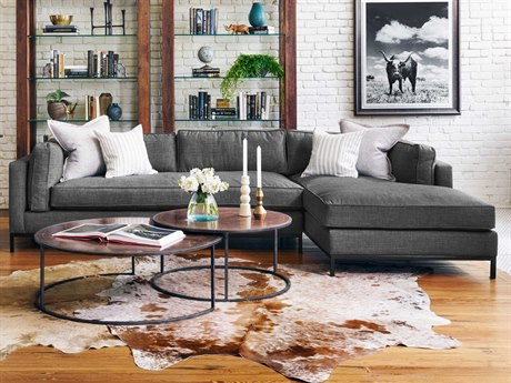 Four Hands Atelier Bennett Charcoal Grammercy Two Piece Sectional Sofa with Right Arm Chaise