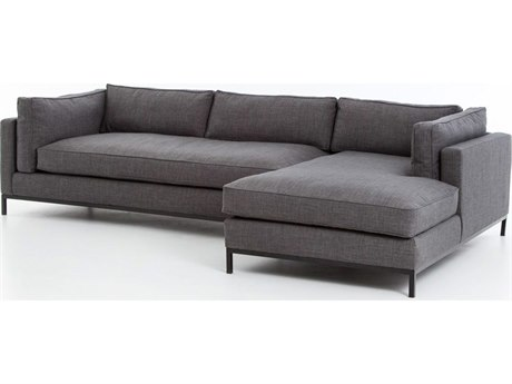 Four Hands Atelier Bennett Charcoal Grammercy Two Piece Sectional Sofa with Right Arm Chaise FSUATR001A008