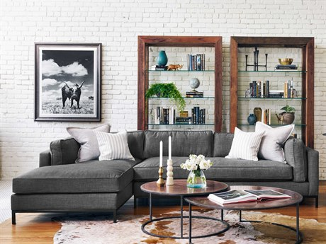 Four Hands Atelier Bennett Charcoal Grammercy Two Piece Sectional Sofa with Left Arm Chaise FSUATR001BCH
