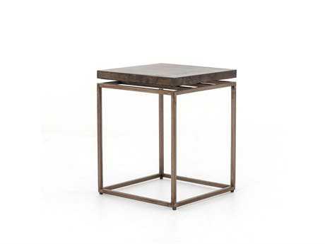 Four Hands Wesson 19 Square Oxidized Iron & Oxidized Bronze Roman Side Table