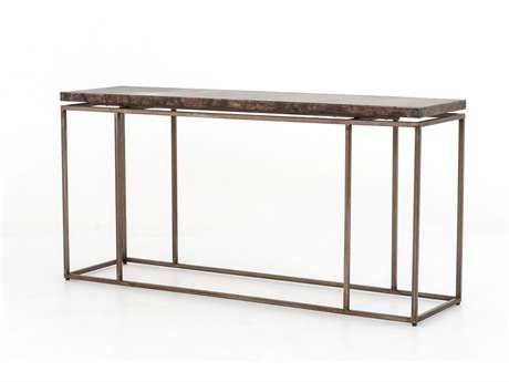 Four hands wesson 65 x 17 rectangular bronze roman console for 65 sofa table