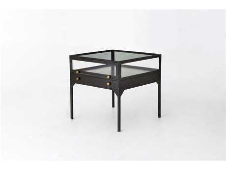 Four Hands Belmont 24 Square Antique Silver Shadow Box End Table