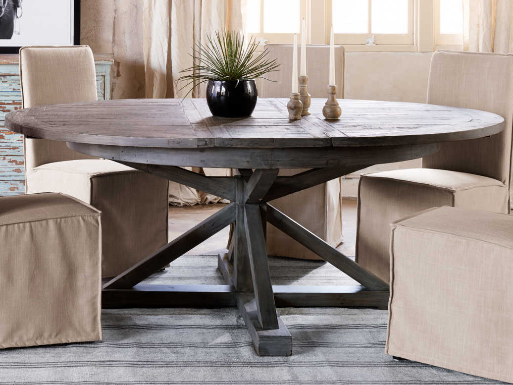 Four Hands Cintra Rustic Black Olive 63 Wide Round Dining Table Fsvcid2655
