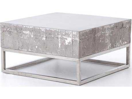 Four Hands Constantine Concrete And Chrome 29.5 x 16 Coffee Table
