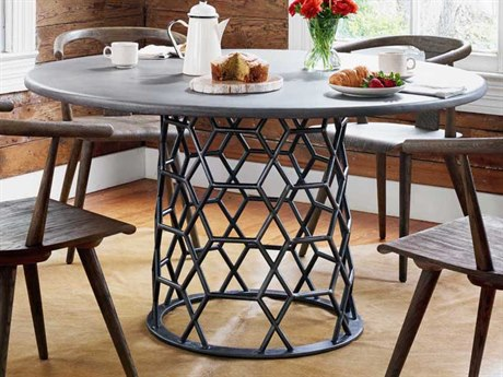 Four Hands Everett Rubbed Steel / Antiqued Dark Grey 54'' Wide Round Dining Table FSVEVR026