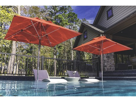 Frankford Greenwich Market Aluminum Silver Anodized 6.5 Foot Wide Square Pulley Lift Umbrella