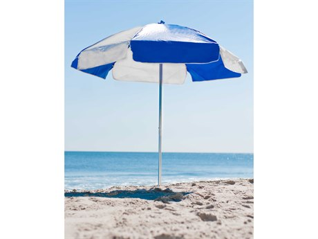 Frankford Emerald Beach Aluminum Silver Anodized 6.5 Foot Wide Hexagon Manual Lift Umbrella PatioLiving