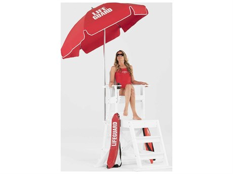 Frankford Lifeguard Aluminum 6.5 Foot Wide Round Manual Tilt Umbrella PatioLiving