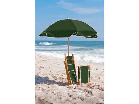 Frankford Emerald Steel Beach 6.5 Foot Wide Octagon Manual / Point Umbrella in Ashwood