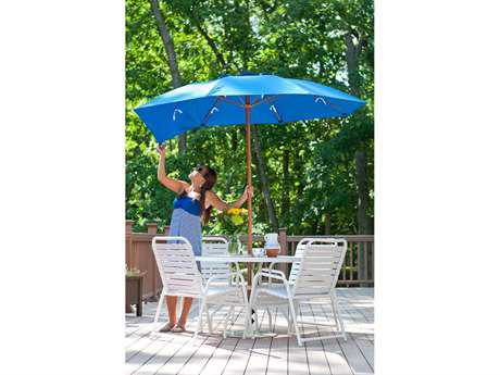 Frankford Catalina Fiberglass Patio 7.5 Foot Wide Octagon Manual Lift Umbrella