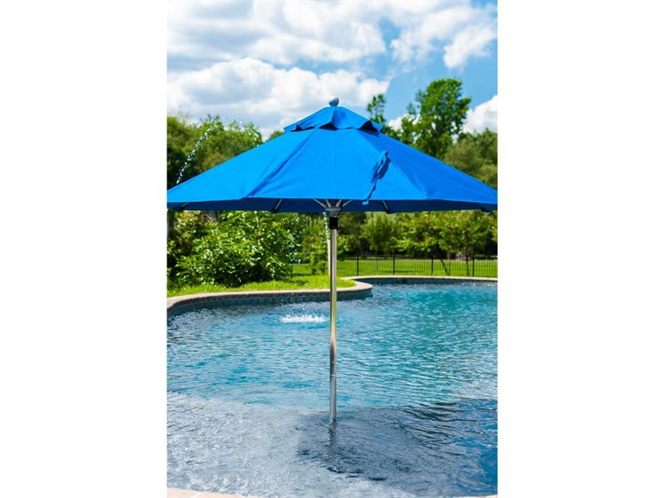 Frankford Monterey Fiberglass Market 7.5 Foot Wide Octagon Pulley Lift Umbrella PatioLiving