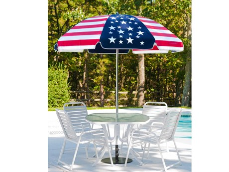 Frankford Laurel Steel Silver Anodized 7.5 Foot Wide Octagon Manual Tilt Umbrella PatioLiving