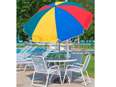 Frankford Laurel Steel Silver Anodized 7.5 Foot Wide Octagon Auto Tilt Umbrella PatioLiving