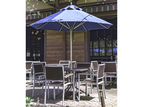 Frankford Greenwich Aluminum Silver Anodized 7.5 Foot Wide Octagon Pulley Lift Umbrella