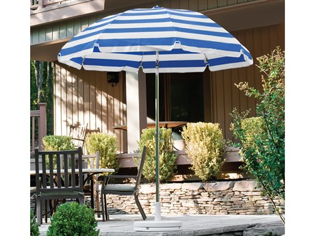 Frankford Laurel Steel Silver Anodized 7.5 Foot Wide Octagon Crank Tilt Umbrella PatioLiving